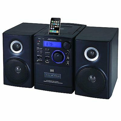 SUPERSONIC AUDIO STEREO SYSTEM MP3 CD CASSETTE PLAYER iPod DOCK USB/SD/AUX INPUT Dock Stereo System