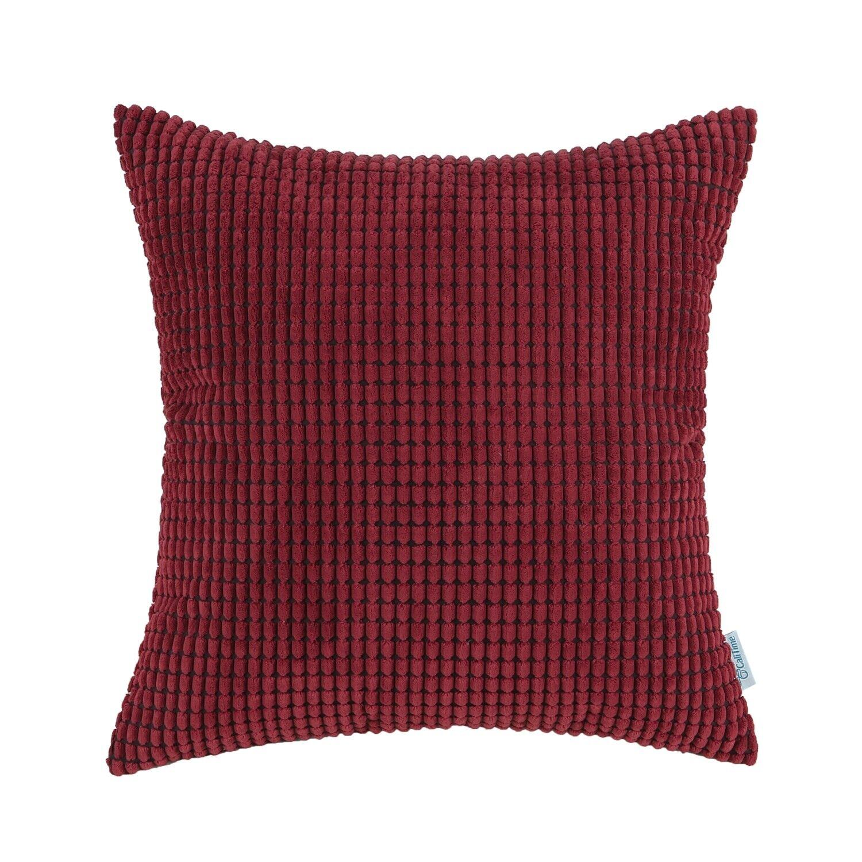 2Pcs CaliTime Burgundy Pillows Covers Shells Corn Soft Cordu