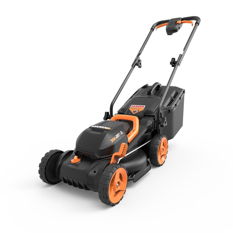 "WORX WG779 20V PowerShare13"" Cordless Lawn Mower with Intellicut & Mulch Plug"