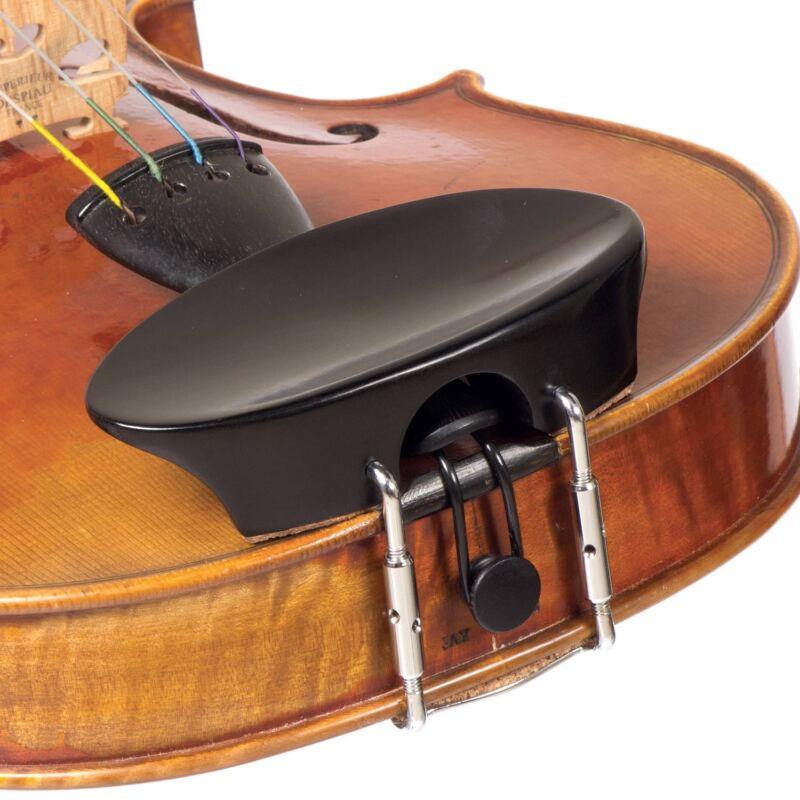 Flat Flesch 1/2 Ebony Violin Chinrest with Standard Bracket - FAST SHIPPING!