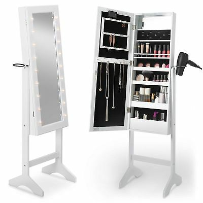White Free Standing LED Light Up Mirror and Jewellery Storage Cabinet Organiser
