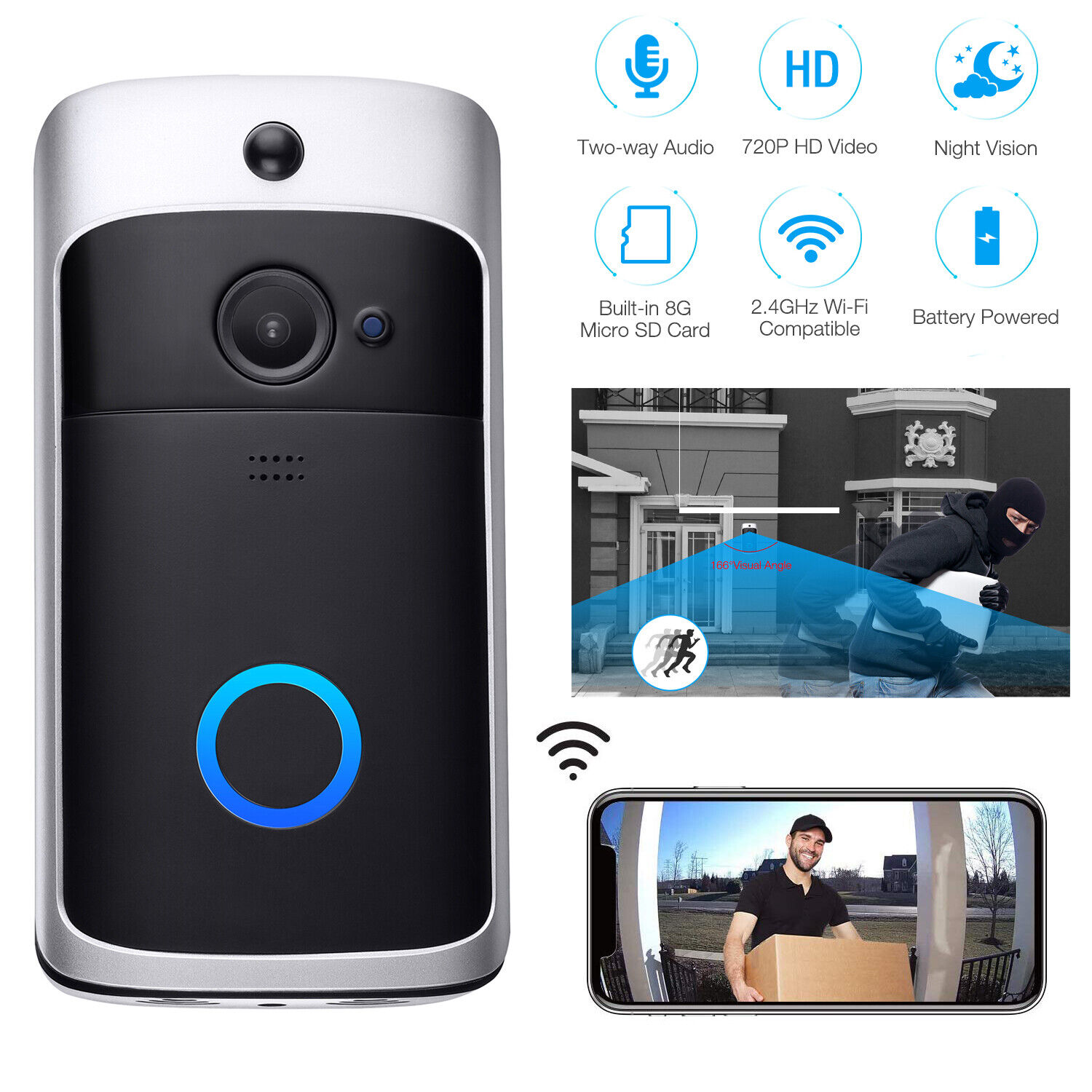 Two-Way Door Bell WiFi Wireless Video PIR Doorbell Talk Secu