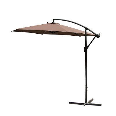 10 ft Hanging Umbrella Patio Sun Shade Offset Outdoor Market W/ Crank Tilt Brown
