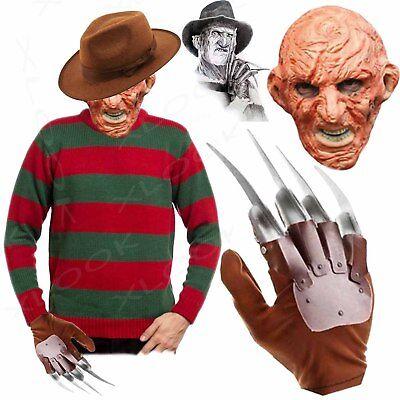 MENS NEW FREDDY RED/GREEN STRIPED JUMPER HAT OR SET KRUGER HALLOWEEN FANCY DRESS](Freddy Kruger Costume)
