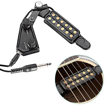 For Acoustic Guitar 12 Soundhole Pickup Clip On Preamp With Tone Volume Control