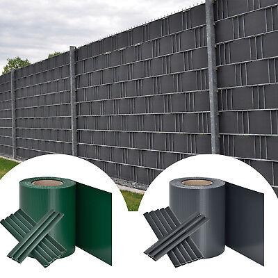 PVC Sichtschutzstreifen Sichtschutz Doppelstabmatten Grau Grün 35m
