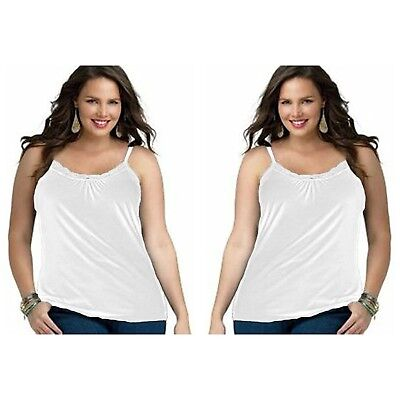 Cami 2 Pack (2-Pack Just My Size Plus Size Women's Lace Shirred Front Solid Tank Cami)