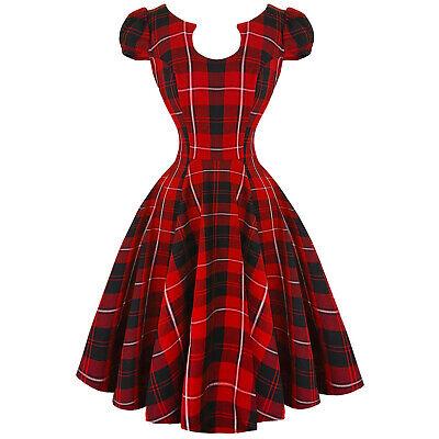Hearts and Roses London Red Tartan 1950s Retro Vintage Swing Jive Dress Vintage 1950s Swing