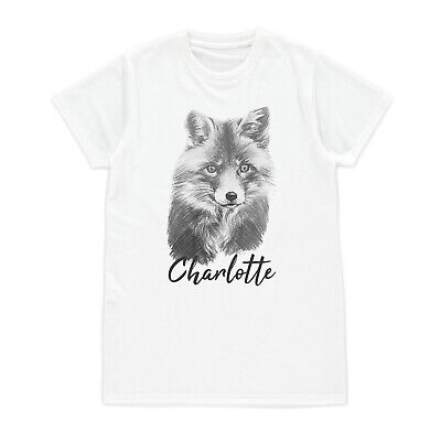 Custom Name Fox Cub T Shirt Personalised Vegan Animal Women Girl Men Printed Tee - Fox Girls T-shirt