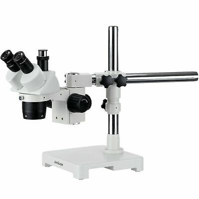 Amscope 20x-40x Trinocular Stereo Microscope Single Arm Boom Stand Image Port