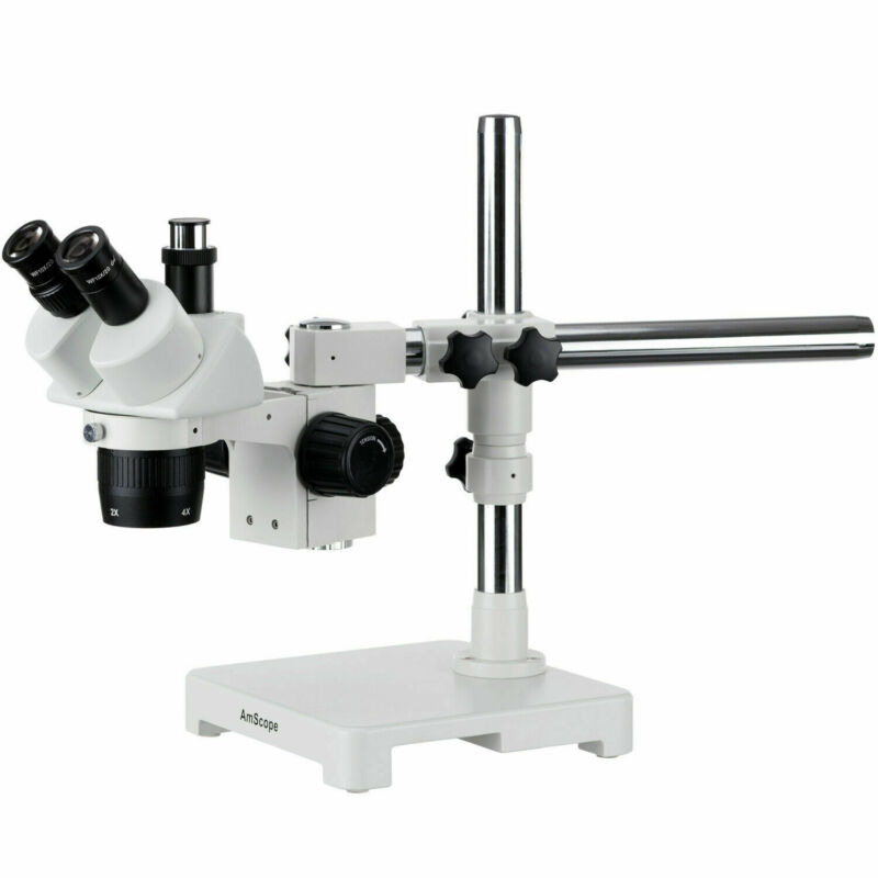 AmScope 20X-40X Trinocular Stereo Microscope Single Arm Boom Stand Image Port