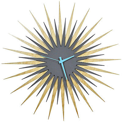 Midcentury Modern Starburst Clock Contemporary Sunburst Abstract Wood Wall Decor
