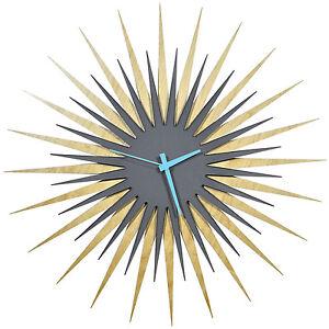 modern starburst clock contemporary sunburst abstract wood wall decor
