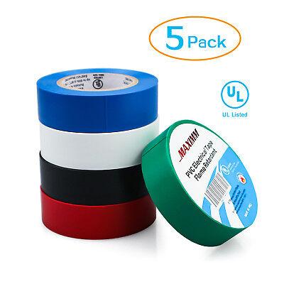 Vinyl Pvc Electrical Tape 34 X 30 Heat Flame Retardant 5 Colored 5-pack