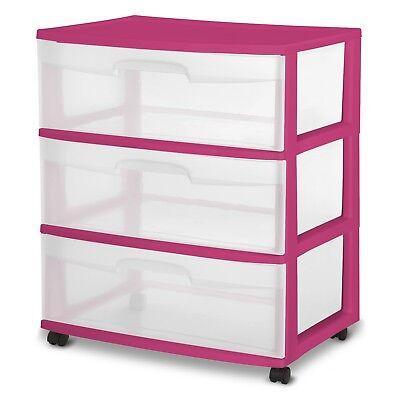 3 Drawer Wide Cart Storage Boxes Home Organizer Room Plastic Cabinet - 3 Drawer Plastic Storage
