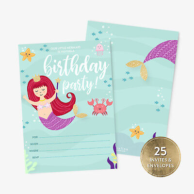 25 Mermaid Birthday Party Invitations and Envelopes for Girls
