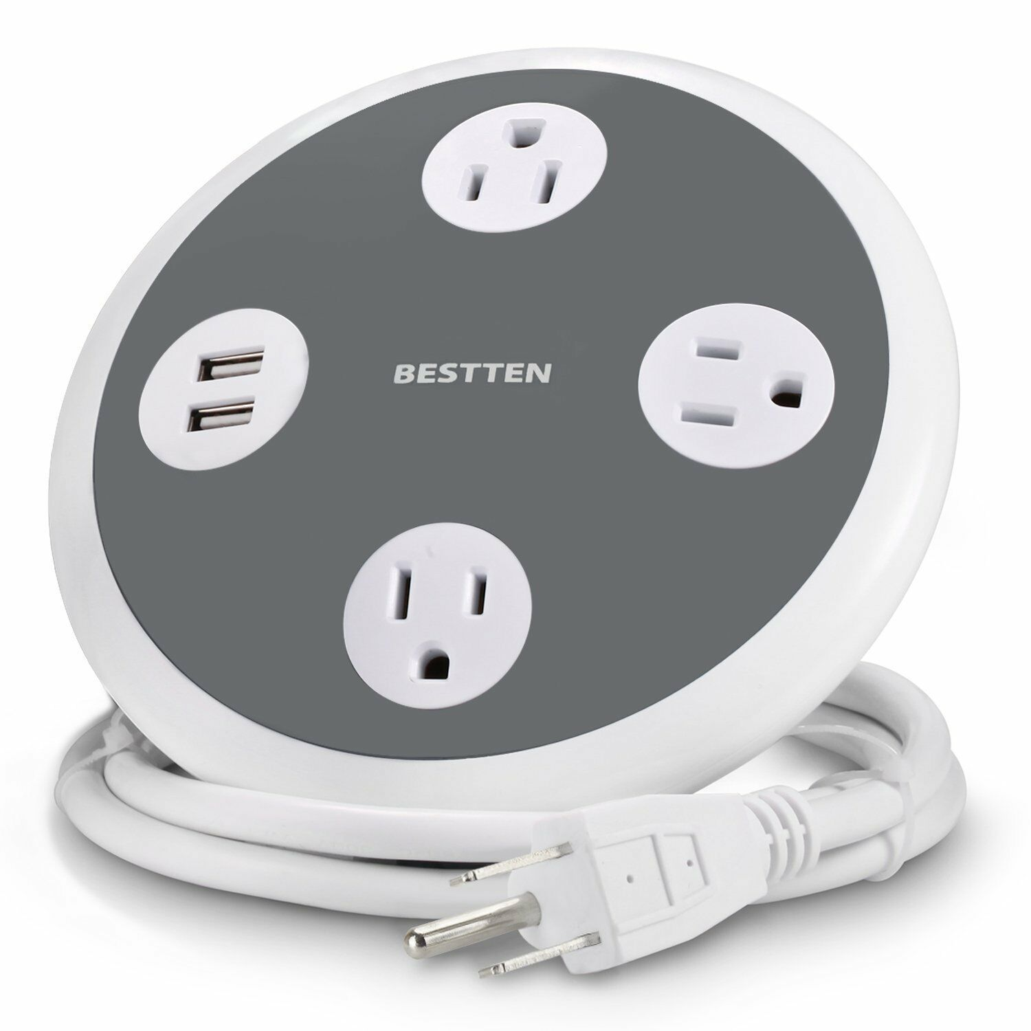 BESTTEN Power Strip Surge Protector with 2 USB Charging Port