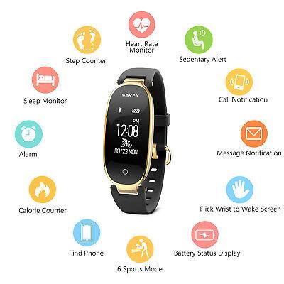 Fitness Tracker Heart Rate Monitor Waterproof Activity Bluetooth Smart Bracelet