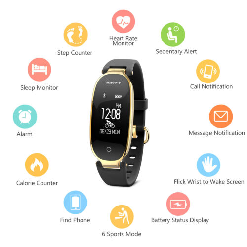 SAVFY Damen Bluetooth Smart Watch Sports Armbanduhr Pulsuhr Fitness Tracker