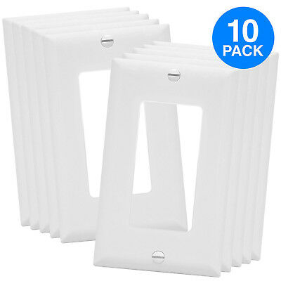 Unbreakable Decorator Outlet / Switch Wall Plate Cover White - 1 Gang (10 Pack)