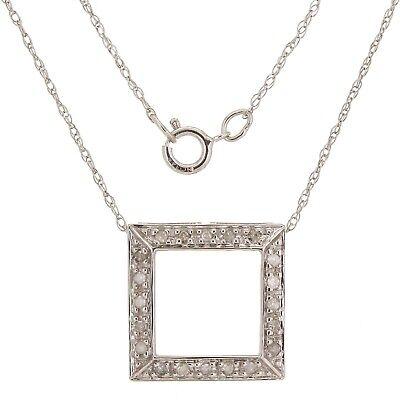 "14k White Gold 0.10ctw Diamond Square Frame Floating Pendant Necklace 18"""