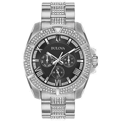 Bulova Men's 96C126 Quartz Crystal Accents Black Dial Silver-Tone 40mm Watch