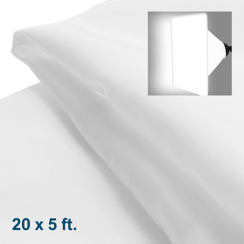 20 x 5 ft. / 6 x 1.5 Meters White Diffusion Fabric for Photo Lighting Diffusers