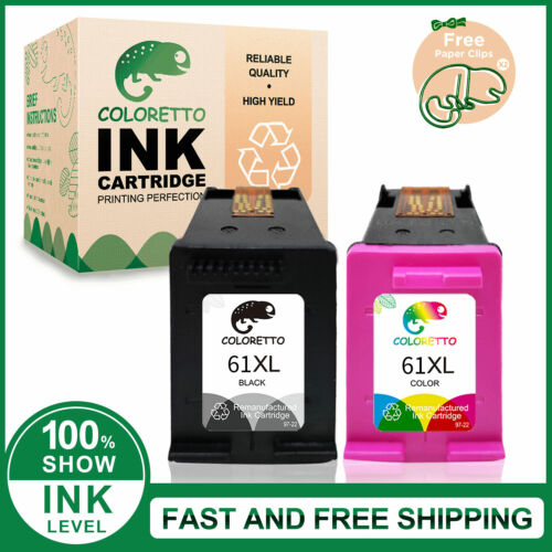 Combo Black & Color Ink Cartridge For HP #61 61XL Envy 4500