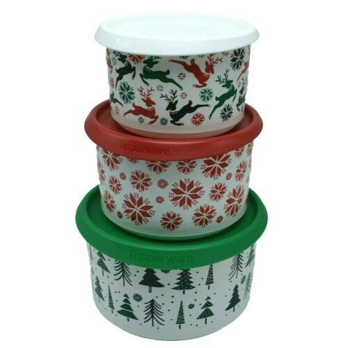 Tupperware Canister set red white green reindeer set of 3