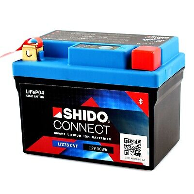 Shido CONNECT Lithium Motorradbatterie LiFePO4 LTZ7S CNT 12V 2,4Ah 150A/EN YTZ7S (Kawasaki Quad 6v)
