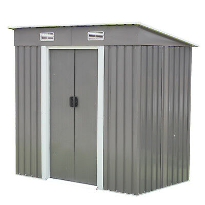 6' x 4' Outdoor Steel Garden Storage Utility Tool Shed Garage Kit Building Grey