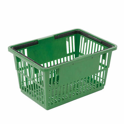 Plastic Shopping Basket With Plastic Handle Standard 17l X 12w X 9h Green
