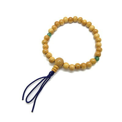 Tsuge wood with Aventurine Japanese Juzu Bracelet Prayer beads Zen Kyoto UDA43