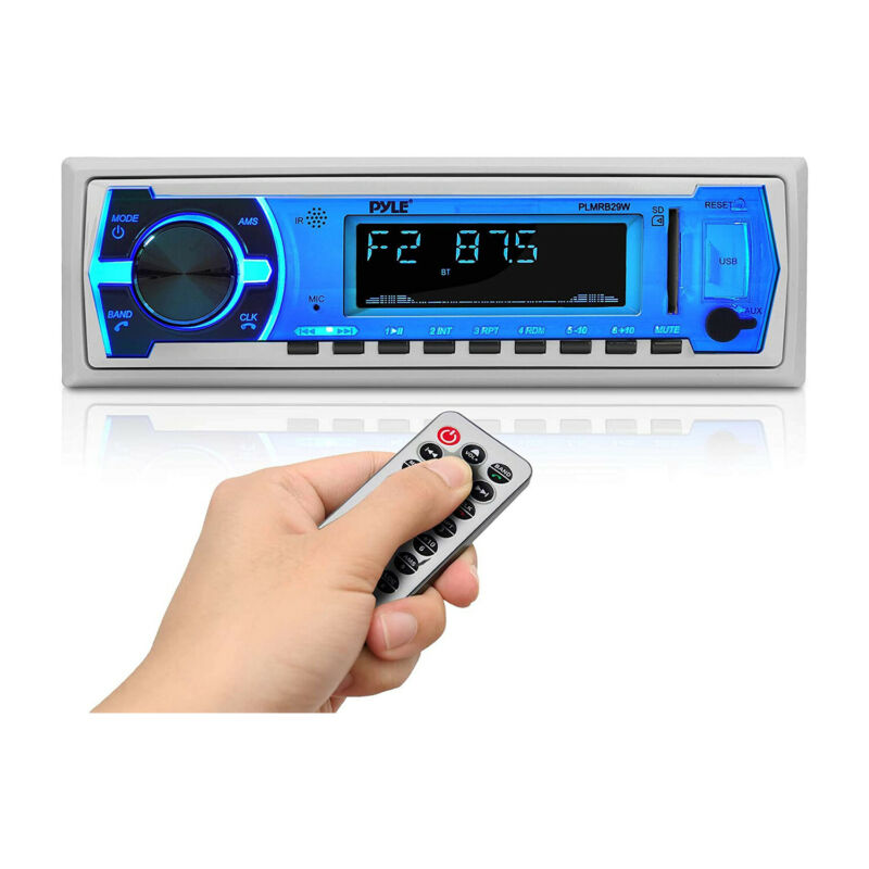 Pyle PLMRB29W Bluetooth Wireless In Dash Marine Stereo Radio Receiver, White
