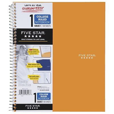 Five Star Spiral Notebook 1 Subject College Ruled Paper 100 Sheets 11 X ...