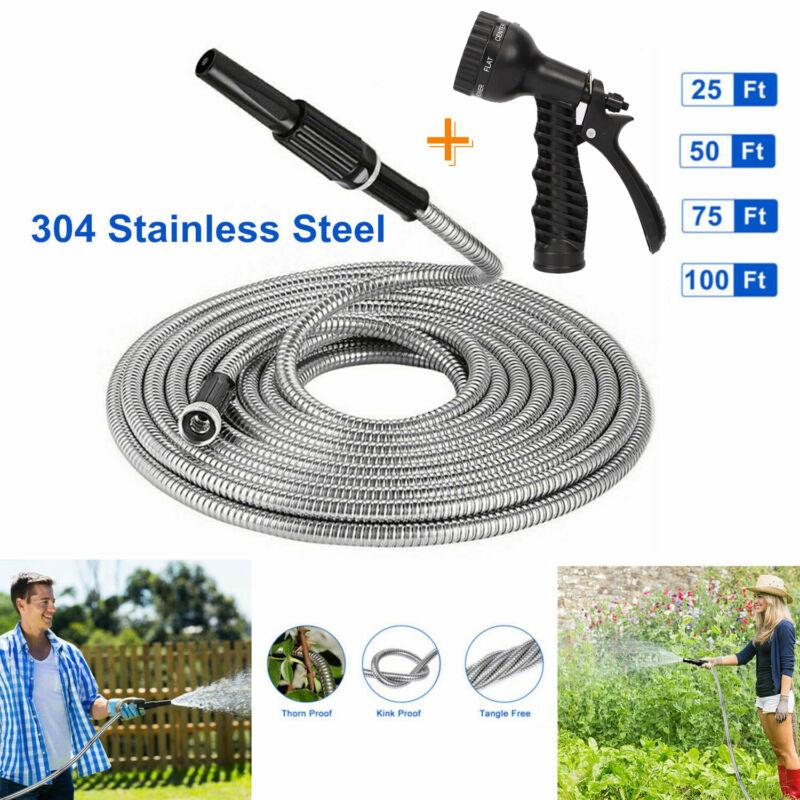 Stainless Steel Metal Garden Water Hose Pipe 25/50/75/100FT Flexible Lightweight