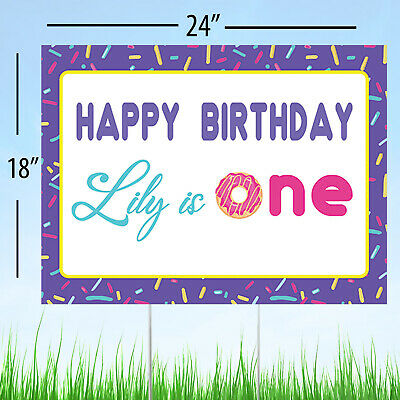 1st Birthday Yard Sign (Donut Grow Up 1st Birthday Donut Party Personalized Yard Sign Lawn Decoration)