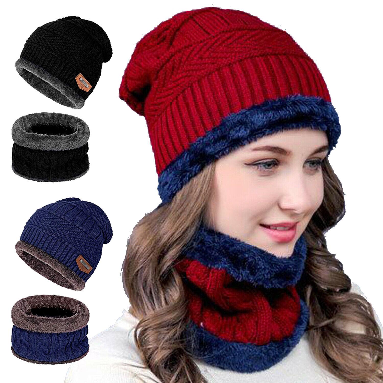 Winter Warm Beanie Hat Scarf Set Fleece Knit Balaclava Ski Cap For Kid Men Women