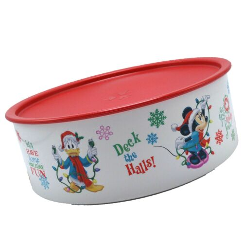 Tupperware Holiday Cookie Mickey and Friends Canister Red Lid