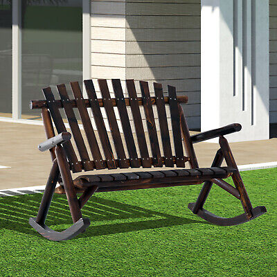Outsunny 2 Person Fir Wood Rustic Outdoor Patio Adirondack Rocking Chair Porch Adirondack Rocking Chair