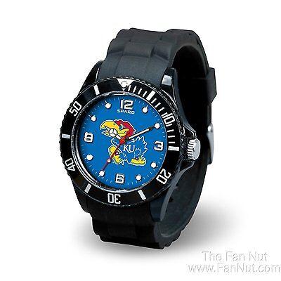 Kansas Jayhawks Spirit Watch Team Color Logo Black Band University of