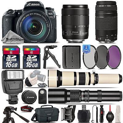 Canon EOS 77D DSLR Camera + 18-135mm IS USM + 75-300mm III + EXT BATT - 32GB Kit