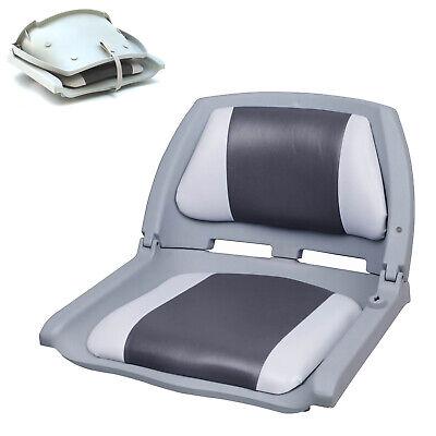 [PRO.TEC]® Bootssitz Bootsstuhl Steuerstuhl Anglerstuhl Klappbar Grau-Weiß