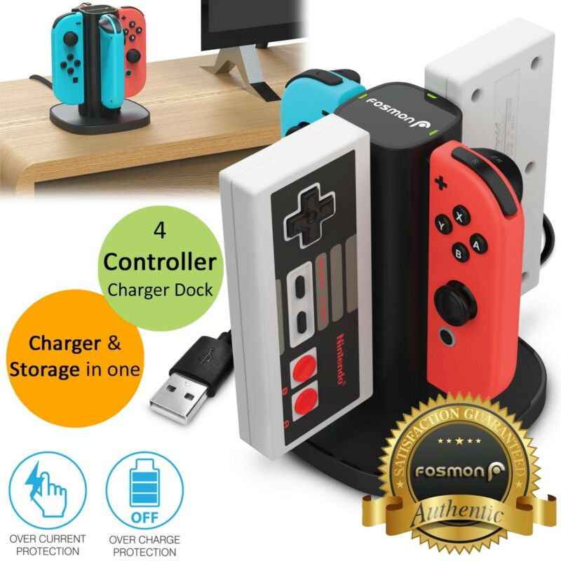 4 Port Controller Charger Charging Dock Station for Nintendo Switch NES Joy-Con