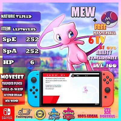 Mew legendrio + master ball Pokémon Sword & Shield nintendo switch