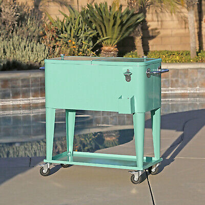 Retro 80Qt Quart Rolling Cooler Cart Ice Chest Patio Outdoor Portable Seafoam
