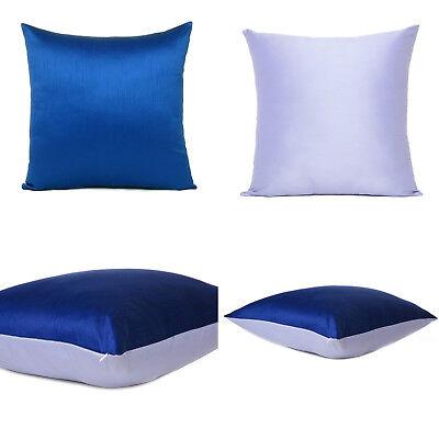 Blue Beige Cover Cushion Both Pillow Sides Case Art Silk Throw Sofa Square 18x18