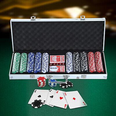 HOMCOM Pokerkoffer Pokerset 500 Pokerchips 5 Farben 2 x Kartenspiel 5 x Würfel