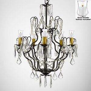 Crystal Chandelier Lighting W/Candle Votives H27