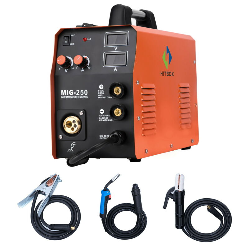 HITBOX MIG250 MIG Welder 220V IGBT 3in 1 ARC Stick Lift TIG MIG Welding Machine